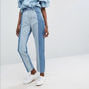 Vintage looking two tone jeans